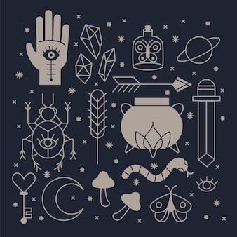 Set esoterische elementen Gratis Vector