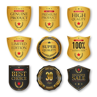 Set etiketten in gouden en zwarte kleur