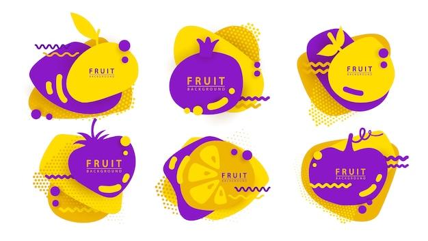 Set etiketten met vloeibare vormen en fruit silhouet.