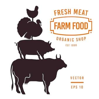 Set etiketten slagerij en ontwerpelementen. Grafische stier, varken, kalkoen, kippen silhouetten