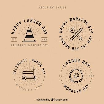 Set etiketten van de dag van de arbeid in vintage stijl