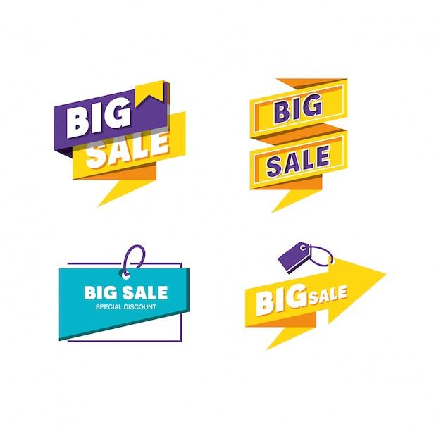 Set etiketten van grote verkoop
