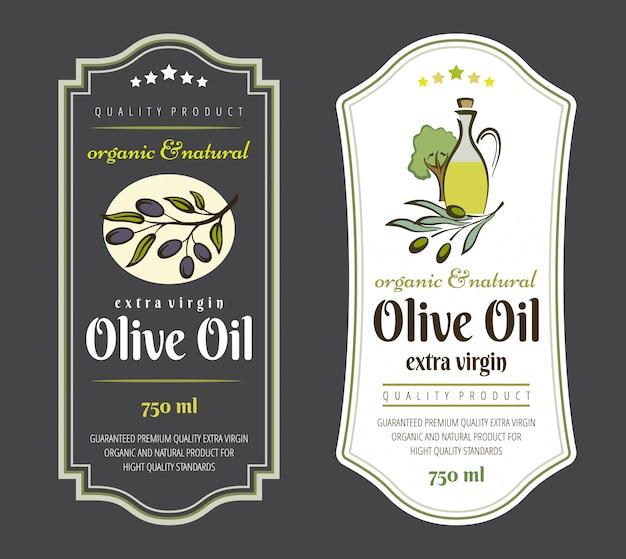 Set etiketten voor olijfolie. elegant ontwerp voor verpakking van olijfolie.