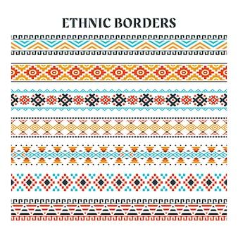 Set etnische elementen strips rand, etnische stroken motieven, etnische randen handgemaakt met strepen