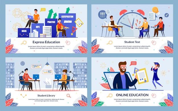 Set express onderwijs, studentenbibliotheek, cartoon.