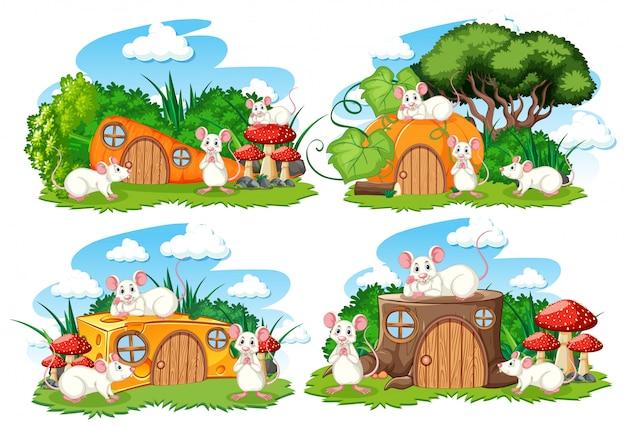 Set fantasie huizen in de tuin met schattige dieren geïsoleerd op een witte achtergrond