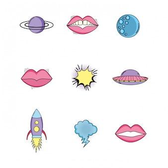 Set fashion mondstuk met raket en ufo