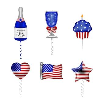 Set feestballonnen met kleuren van de amerikaanse vlag