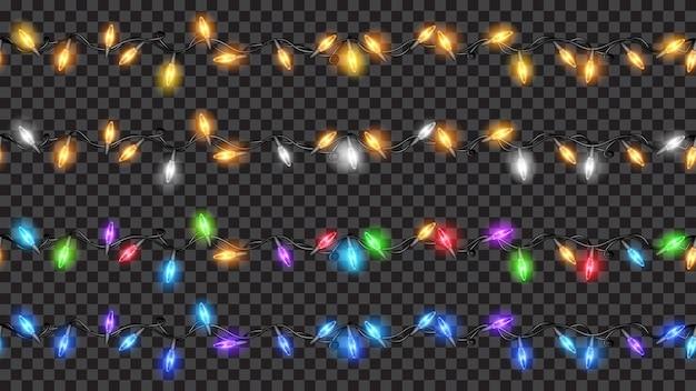 Set feestelijke decoraties, gekleurde doorschijnende kerstverlichting op transparant