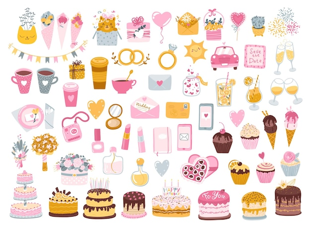 Set feestelijke elementen voor valentijnsdag, verjaardag, bruiloft, dating. snoepgoed, bloemen en geschenken.
