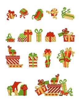 Set feestelijke geschenken. een, twee en meer cadeautjes. een hoop geschenkdozen.