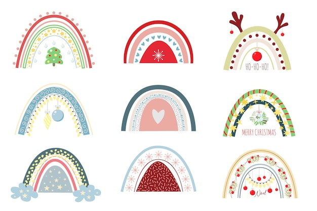 Set feestelijke regenbogen en andere kerstelementen seizoensgebonden clipart-set van schattige kerstregenboog
