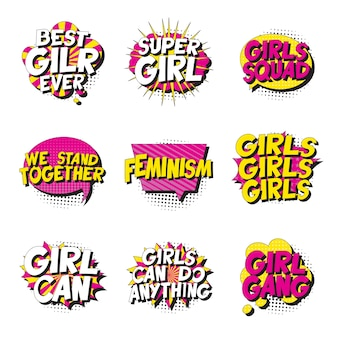 Set feministische slogans in retro pop-artstijl