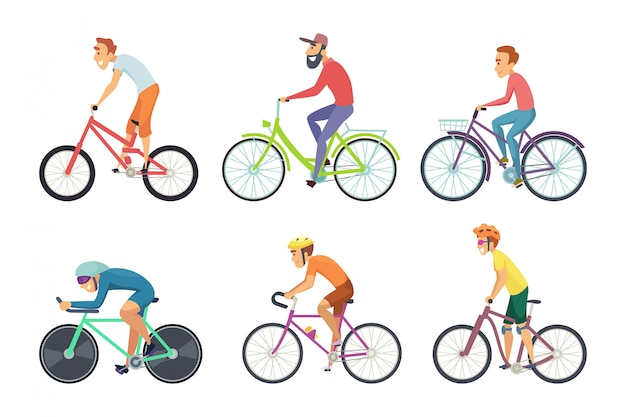 Set fietssporters. stripfiguren die verschillende fietsen besturen
