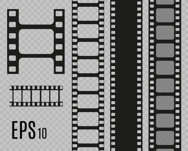 Set film strepen geïsoleerd op transparante achtergrond. film strip roll. bioscoop achtergrond.