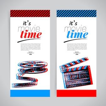 Set filmbanners. bioscoopfestivaltickets met handgetekende schets vectorillustraties
