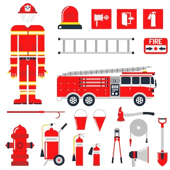 Set firefighter fire safety flat icons and symbols.