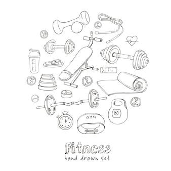 Set fitness bodybuilding dieet en gezondheidszorg schets iconen.