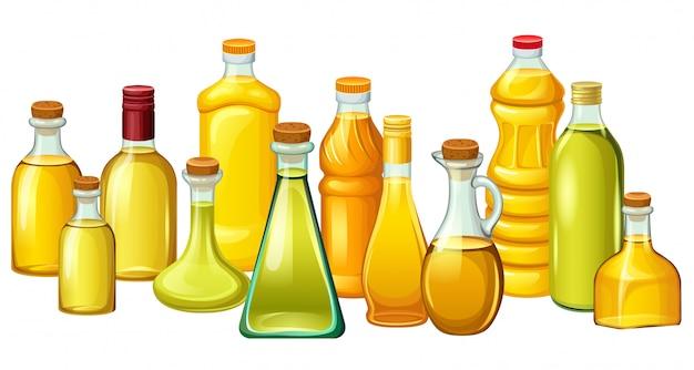 Set flessen met plantaardige oliën.