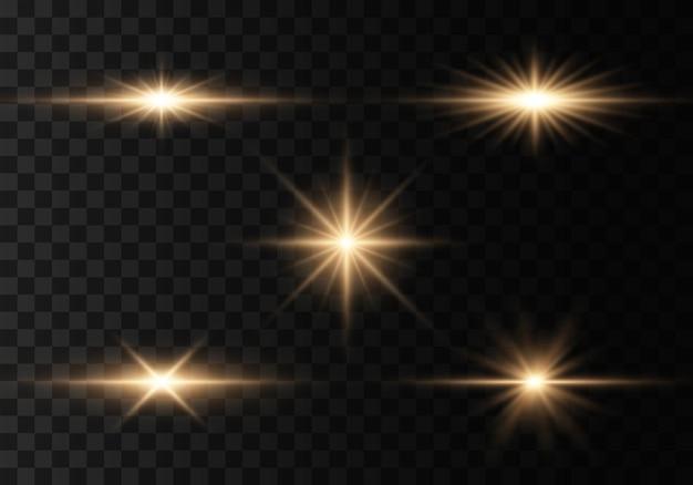 Set flitsen, lichten en fonkelingen Premium Vector