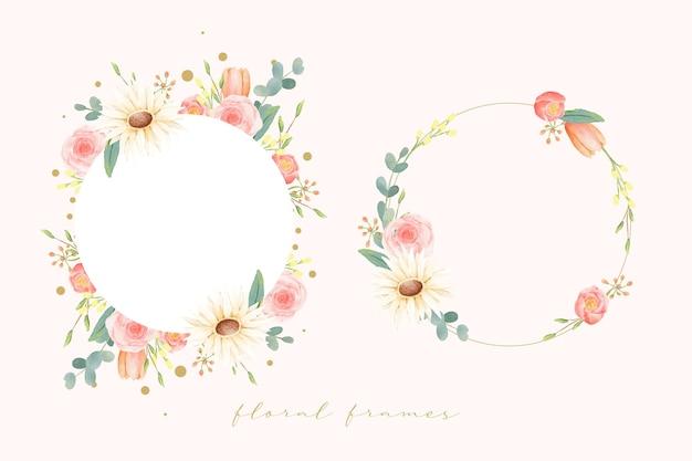 Set floral aquarel bruiloft frames