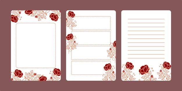 Set floral blocnotes en dagelijkse planners