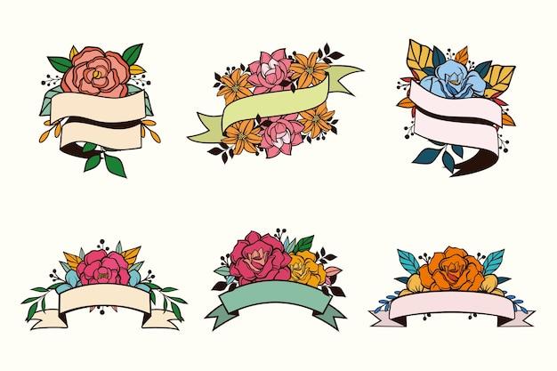 Set floral bloem met lint