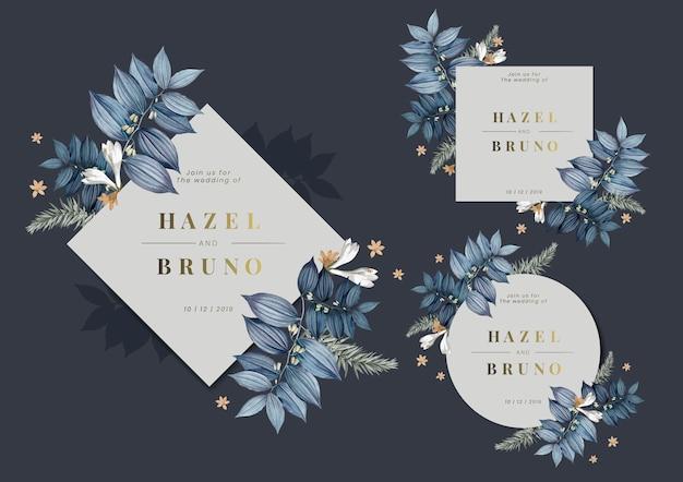 Set floral bruiloft frame ontwerp vectoren