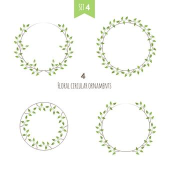 Set floral circulaire frame met groene bladeren