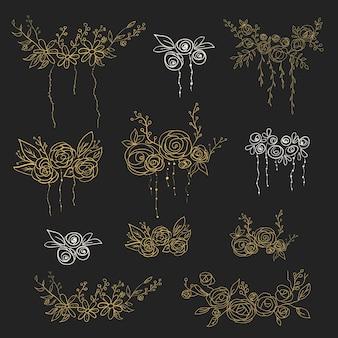 Set floral elementen. vector illustratie.