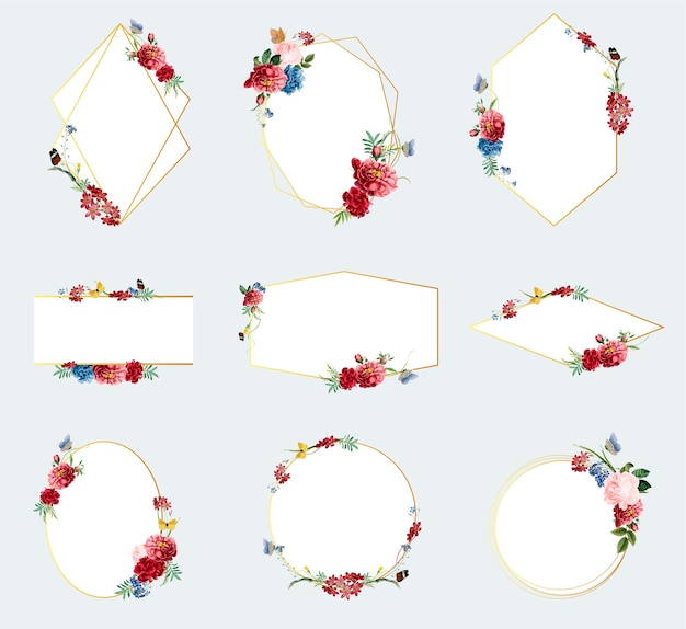Set floral frame illustraties
