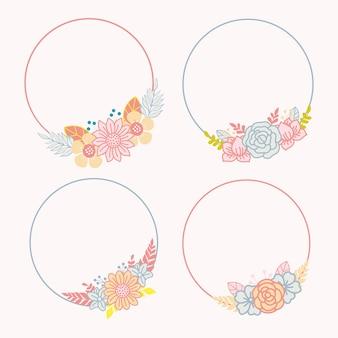 Set floral frame-ontwerp met ruimte in het midden
