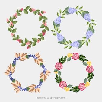 Set floral frames in realistische stijl