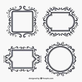 Set floral frames in vlakke stijl