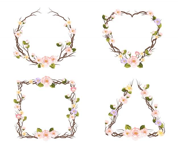 Set floral frames voor decoratie