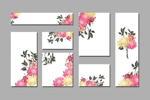 Set floral kaarten met roze bloemen met takken en bladeren.
