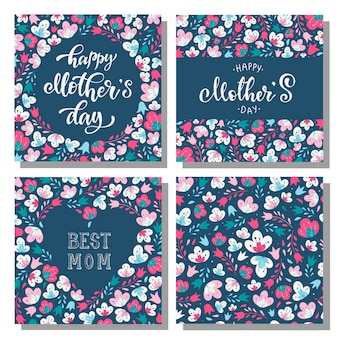 Set floral moederdag kaarten