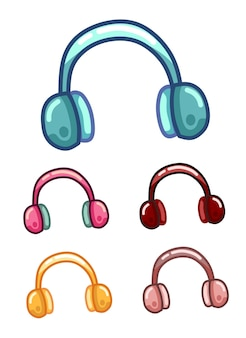 Set fluffy fur of winter ear muffs of stijlvolle koptelefoon om naar muziek te luisteren