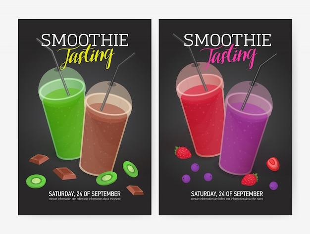 Set flyer- of postersjablonen voor het proeven van smoothies