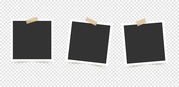 Set fotolijsten. sjabloon voor uw foto's geïsoleerd op transparante achtergrond.