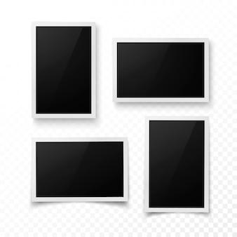 Set fotolijstjes met schaduw. realistische foto, afbeelding of pictere grenssjabloon. fotografie blanco. geïsoleerd op transparante achtergrond