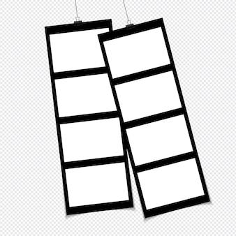 Set fotolijstjes op plakband geïsoleerd op transparante achtergrond