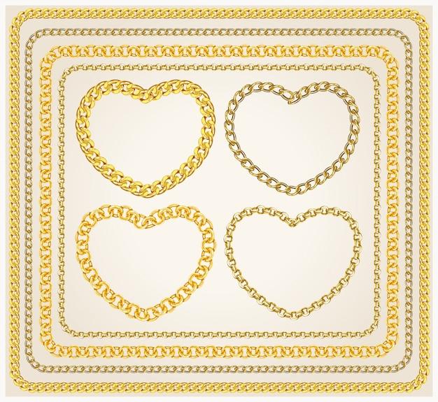 Set frames gouden kettingen.
