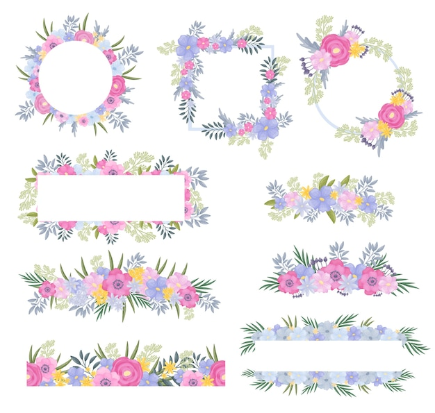 Set frames van bloemen en bladeren in bleke tinten