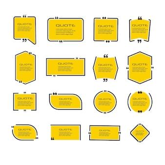 Set frames voor offertes geïsoleerd op wit