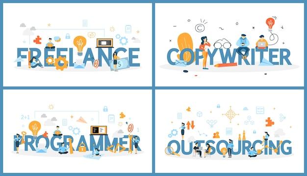 Set freelance woord met mensen in de buurt. werken als tekstschrijver, ontwerper of programmeur. idee van professional op afgelegen baan. vector platte illustratie