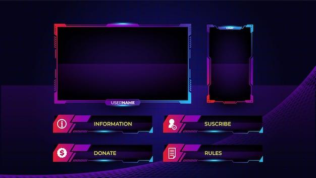 Set gaming panelen met sjabloon voor abstracte vormen