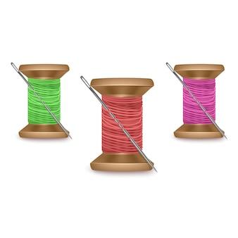 Set garens met een naald in rode, groene en paarse kleuren, garenklosenset. kleurrijke houten spoel. illustratie
