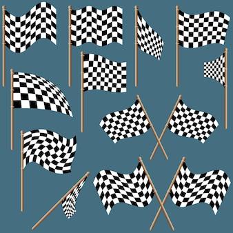 Set geblokte vlaggen
