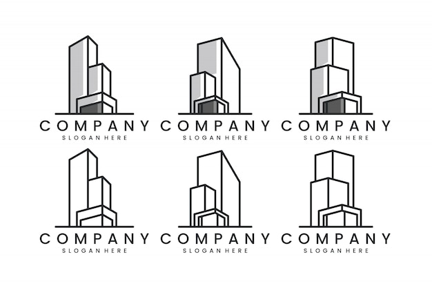 Set gebouw met lijntekeningen concept logo ontwerp inspiratie